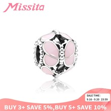 MISSITA 925 Sterling Silver Enamel Pink Butterfly Beads fit Pandora Charm Bracelet DIY Jewelry Women Jewelry Accessories Gift(China)