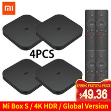 Original global xiao mi caixa de tv s 4 k hdr android tv 8.1 ultra hd 2g 8g wifi google elenco netflix iptv conjunto caixa superior 4 media player(China)