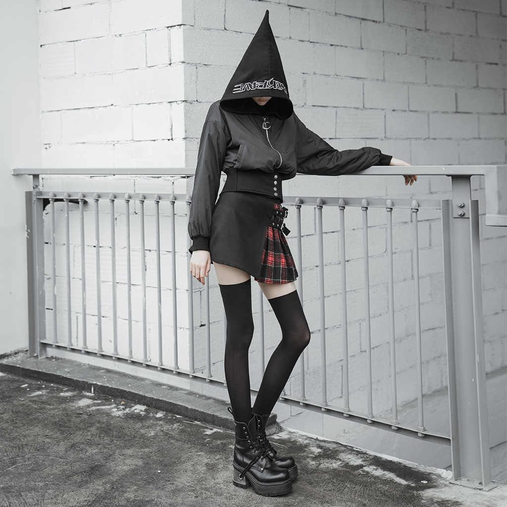 Короткая хлопковая куртка в стиле панк, с металлическим поясом, с вышивкой букв, ветровка, Wpmen's Wizard's Hat