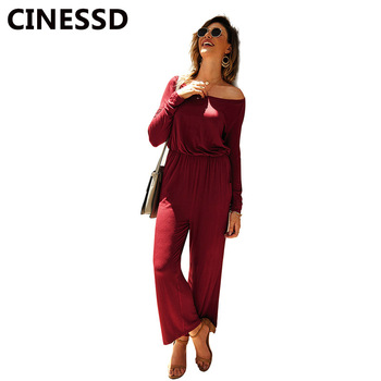 CINESSD Solid Women Casual Jumpsuits Oblique Neck Cold Shoulder Long Sleeves Loose Long Playsuit Rompers Straight Sports Pants цена 2017