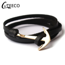 CUTEECO Leather Bracelets New Fashion Men Multilayer Anchor Woman Hope Bracelet Pulsera Navy Hand chain