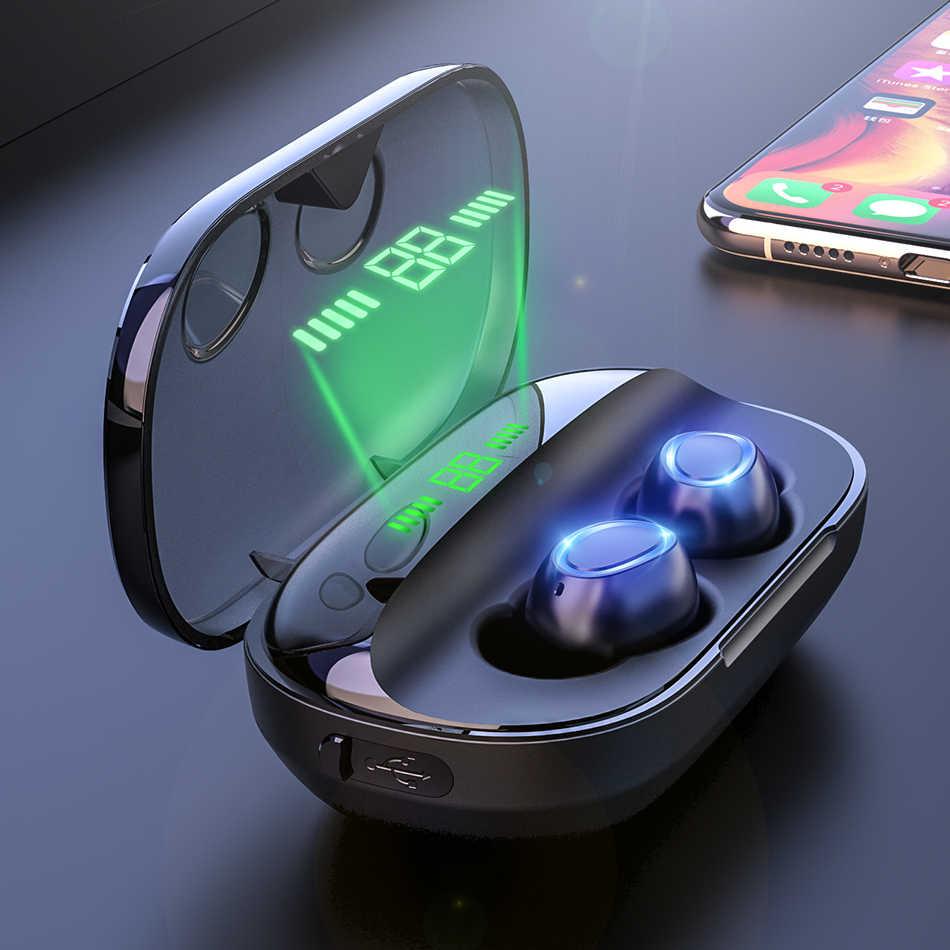 Mini TWS bezprzewodowe słuchawki Bluetooth słuchawki z redukcją szumów słuchawki bezprzewodowe słuchawki bezprzewodowe 2000mAh Power Bank z mikrofonem