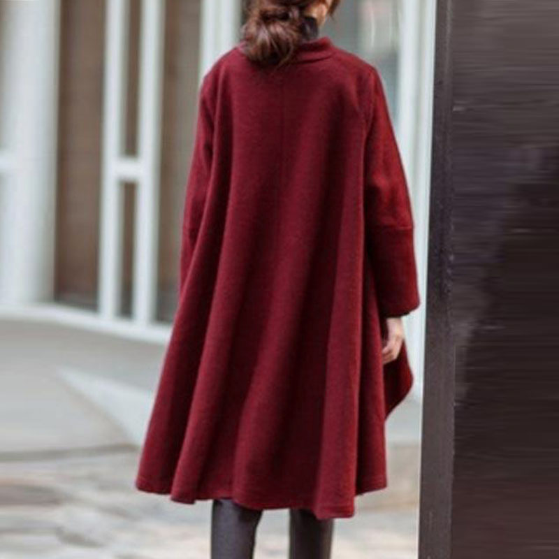 Image 4 - Versear Women Autumn Outerwear Casual Solid Notched Collar Pockets Long Sleeve Irregular Coat Fashion Poncho Coat Plus Size 5XL-in Wool & Blends from Women's Clothing