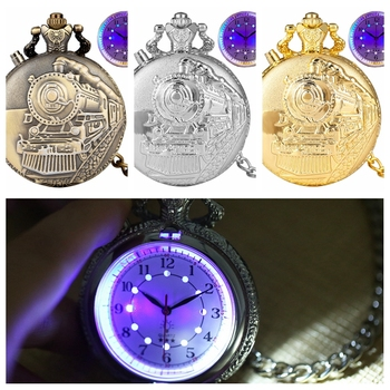 Noctilucent LED Flash Quartz Pocket Watch Unique Bronze/Silver/Gold Train Locomotive Engine FOB Luminous Chain Hour Luxury Clock fashion mechanical pocket watch horse copper antique classic bronze man fob watches father gift hour chain hour good quality new