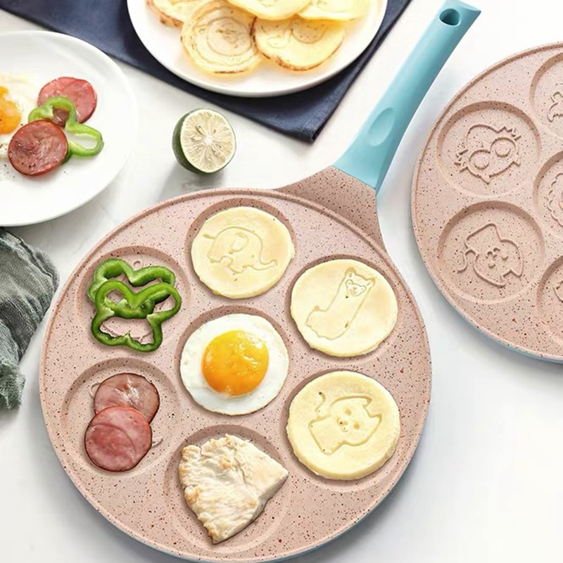 Animal Face Pancake Pan Fun 7 Holes Pancake Omelette Pan Non Stick Coating Pancake Pan Multifunction Breakfast Pot Waffle Baking