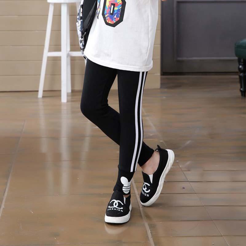 Spring autumn cotton girls leggings  vertical stripe toddler kids sport pants 3-12Years 3