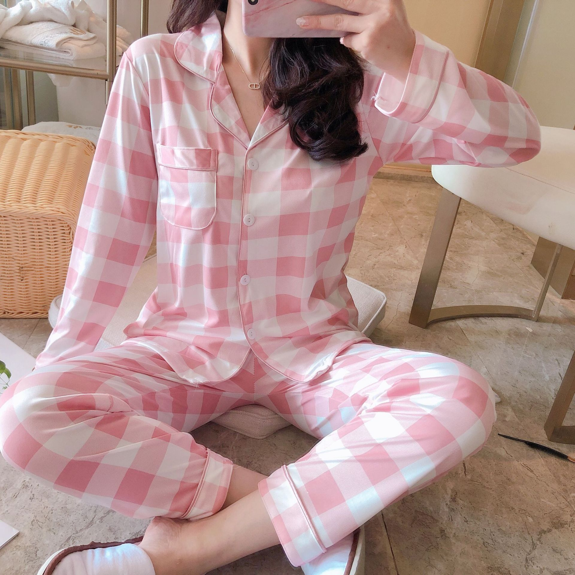 Spring And Autumn Cartoon Duckling Gray Plaid Long Sleeve Pajamas Women's Spring And Autumn Women's Cute Cartoon Tracksuit Two-P