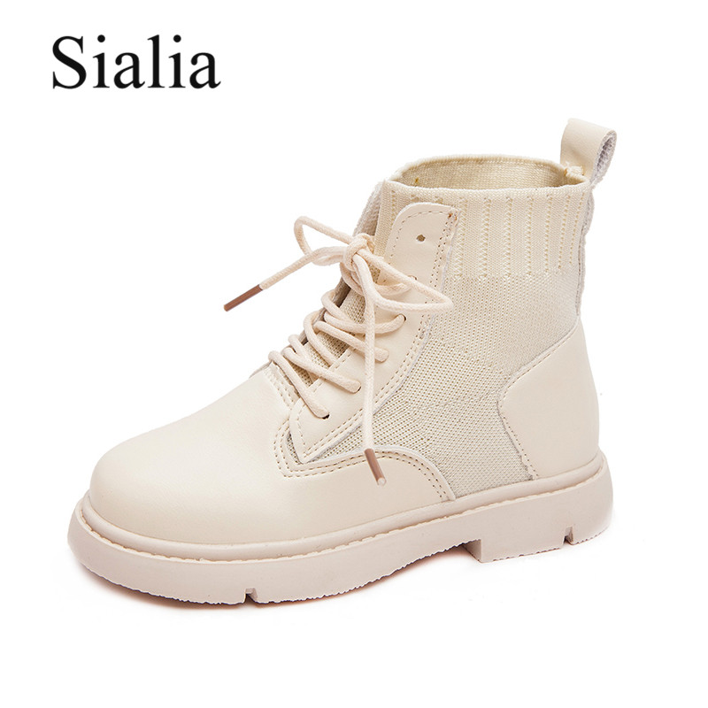 Sialia Lace-up Children Shoes For Girls Boots Kids Shoes Boys Boots Spring Autumn Cotton Fabric Ankle Fashion Bota Infantil 2020