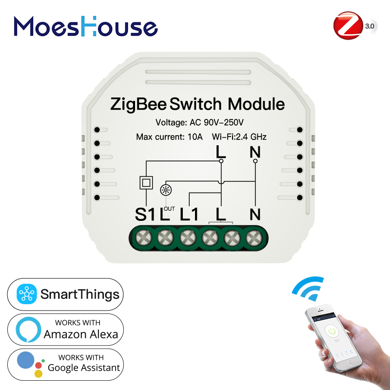 Tuya ZigBee 3 0 Smart Light Switch Module SmartThings Required APP Remote Control Work with Alexa Google Home for Voice Control