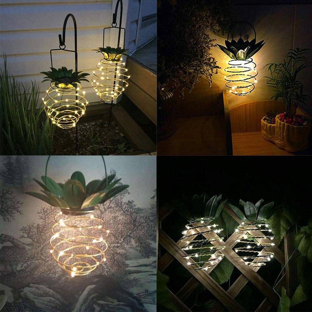 2Pcs/set Solar Garden Lights Pineapple Shape Outdoor Solar Hanging Light Wall Lamp Fairy Night Lights Iron Wire Art Waterproof