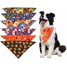 1 Pcs Pet Accessories Pumpkin thanksgiving Cute Dog Cat Bandanas For Small Large Halloween Bandana Scarf Product