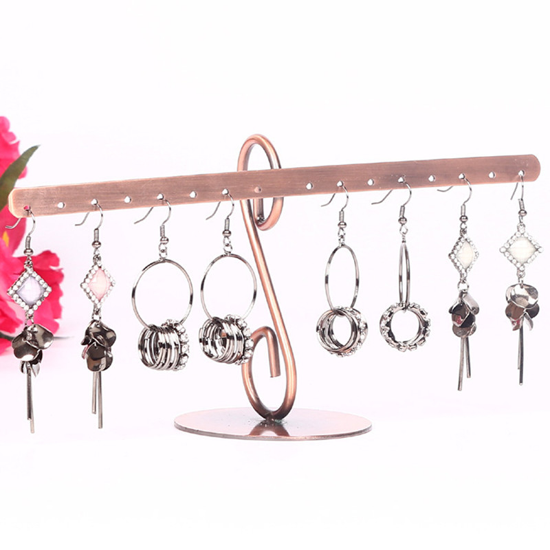 Big Earrings Necklace Jewelry Stand Holder Display Rack Simple Style Ear Studs Metal Stand Holder Display Shelf Jewelry