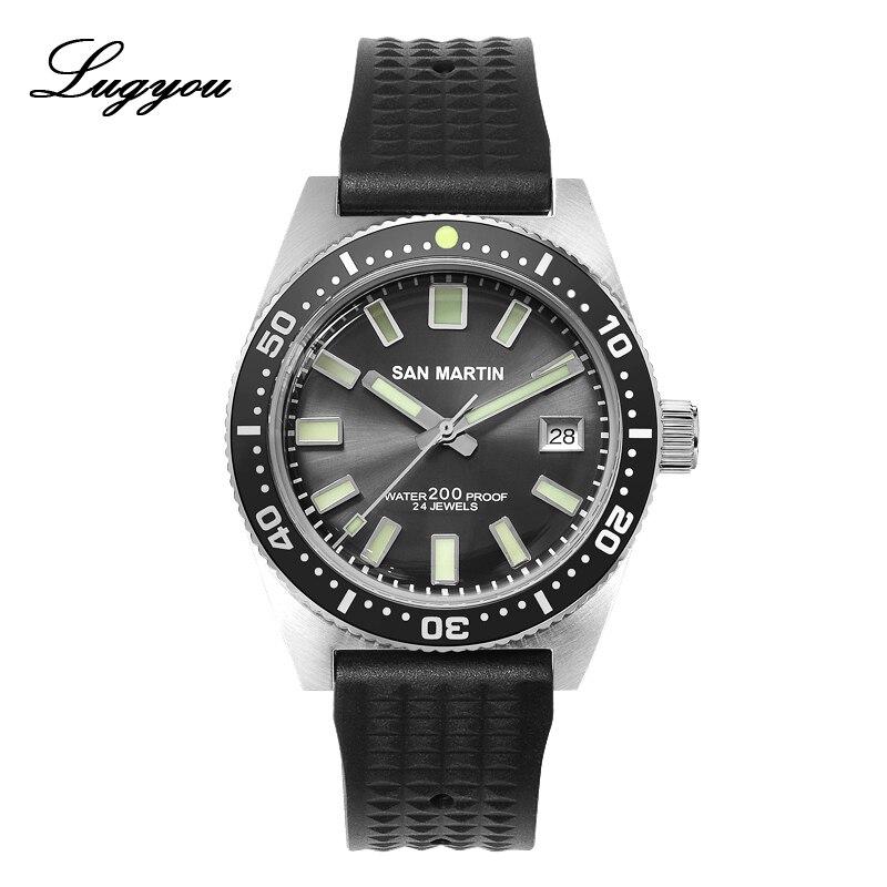 Men Watch Bezel Diver Mechanical Ceramic Sunray Stainless-Steel San Martin Lugyou 62mas