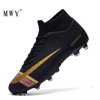 Men Football Soccer Cleats Long Spikes Sneakers Soft Indoor Turf Futsal Child Soccer Shoes Boots Dropshipping Children Footwear kelme professional futsal football boots soccer shoes original football cleats tf black sneakers men soccer futsals 871701