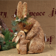 24x15x33cm,Handicrafts,cute mother and child rabbits,brown cattail flowers,accessories,Straw crafts,Easter day,Mother's Day gift