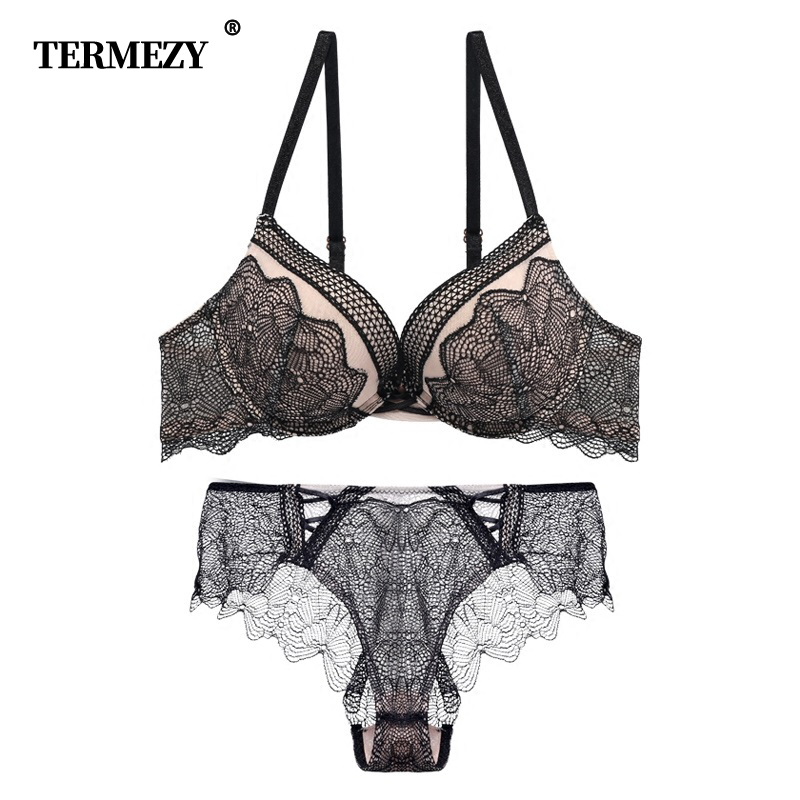 TERMEZY 2019 New Embroidery Women Underwear Push-up Bra Set Sexy Bra And Panty Sets Deep V Brassiere Vintage Lingerie Set