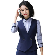 цена на Ladies Work Wear Uniform Vest Slim V-Neck Formal Sleeveless Jacket Women Office Black OL Waistcoat Vest Gilet V-Neck Outerwear