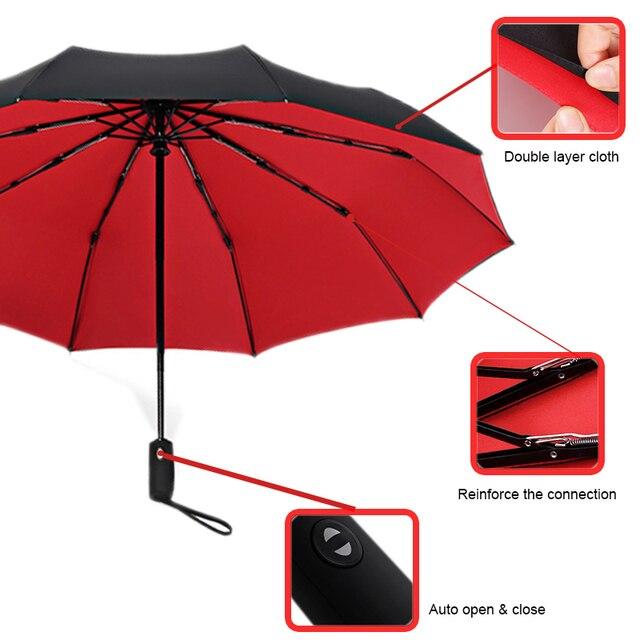 Double Layer Windproof Women's Automatic Umbrella Female Male Ten Bone Three Folding  Men's Umbrella Large Rain Business Parasol 2