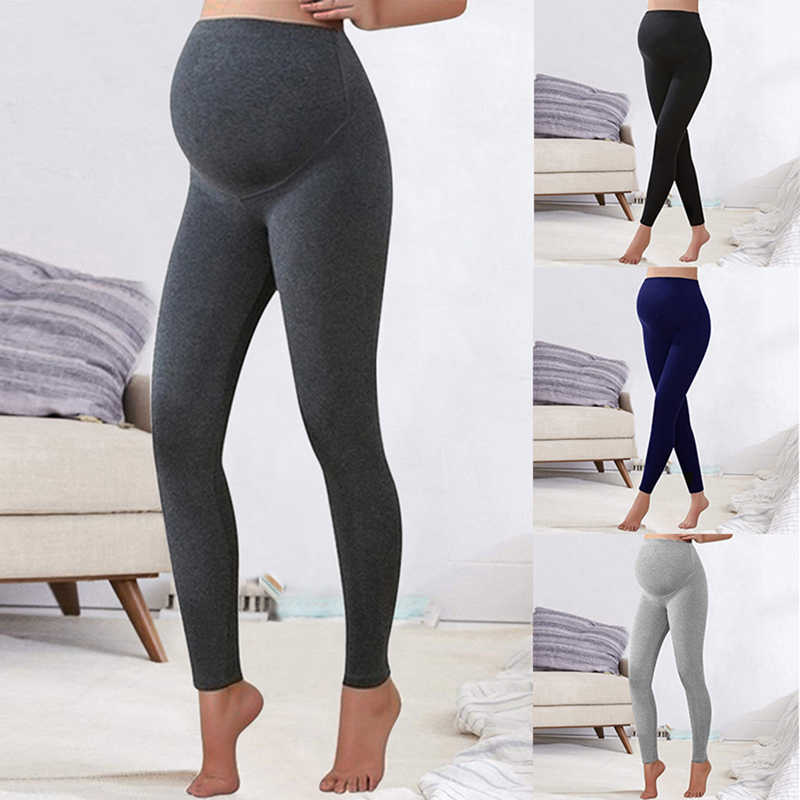 Winter Leggings Trousers Warm Solid Pregnancy Clothes For Pregnant Women High Waist Stretch Pencil Pants Black Trousers Pants