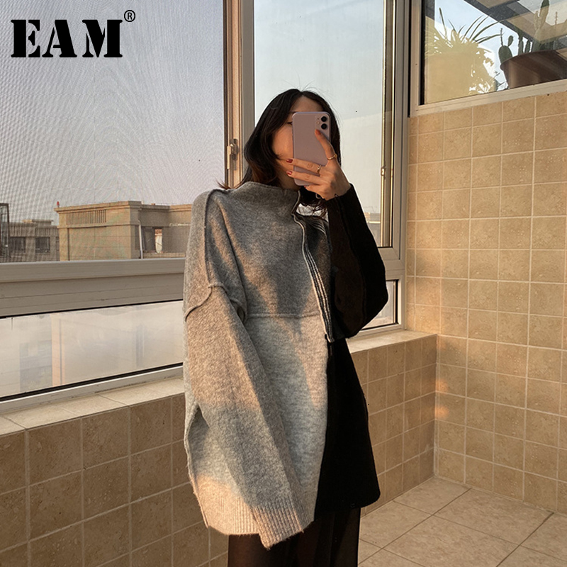 [EAM] Gray Big Size Knitting Sweater Loose Fit TurtleneckLong Sleeve Women Pullovers New Fashion Spring Autumn 2020 19A-a267