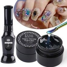 Лак для ногтей гель для приклеивания страз супер липкий прозрачный лак для ногтей клей гель для самостоятельного дизайна ногтей хрустальны...