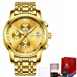 Męskie zegarki Top marka luksusowe złoty zegarek kwarcowy ze stali nierdzewnej mężczyźni Luminous Hands Chrono wodoodporny biznes zegar mężczyzna