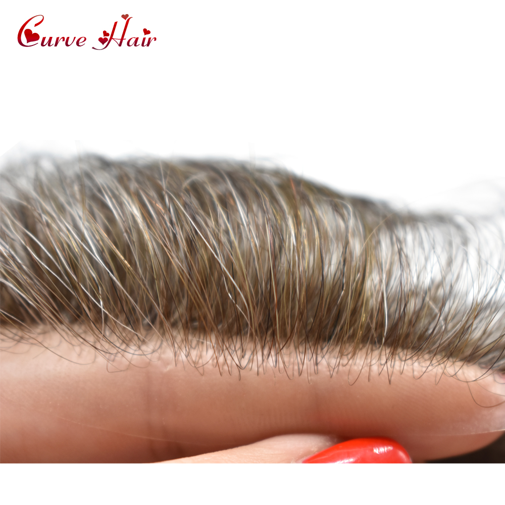 Ultra Thin Skin V-looped Men Toupee Transparent Poly Human Hair Wig All PU Hair System Light Density Hairpiece