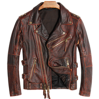 HARLEY DAMSON Vintage Brown Men Biker's Leather Jacket Plus Size XXXXL Genuine Thick Cowhide Autumn Slim Fit Motorcycle Coat