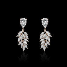 NJ Leaf Clear Quart Drop Earrings For Women Gold Silver Color Dangle With Crystal Rhinestone Wedding Jewelry