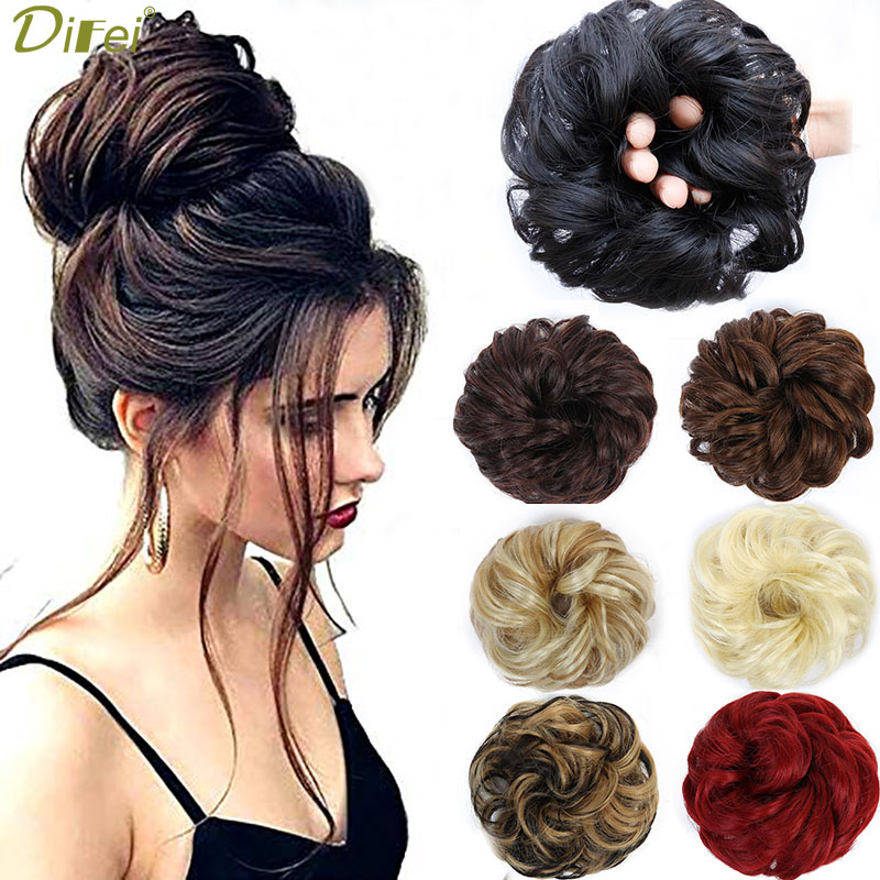 DIFEI  Heat Resistant Synthetic Hair Pieces Curly Chignon With Rubber Band Hair Extension Updo Donut Hairpieces