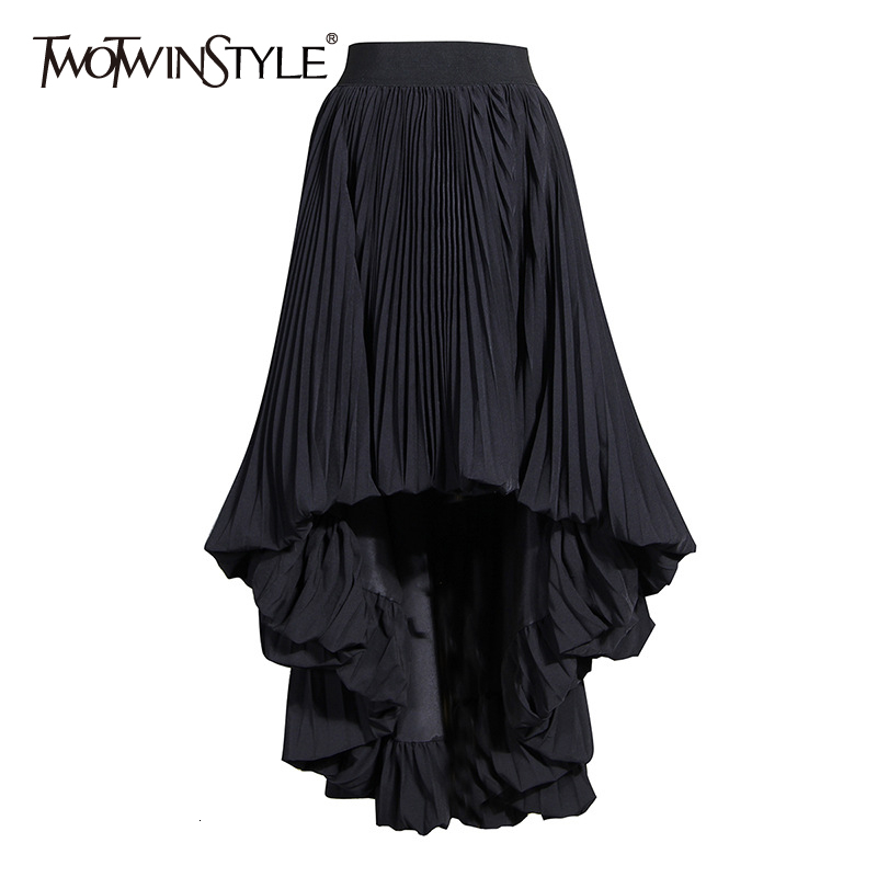 TWOTWINSTYLE Casual Irregular Hem Black Skirts For Female High Waist Elegant Pleated Skirt Women Autumn 2020 Fashion Clothes New