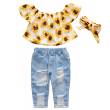 3PCS Toddler Girl Clothes Sunflower White Shirt Top Ripped Jeans Pants Set kids summer clothes
