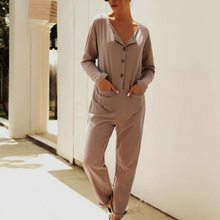 Ladies Fashion Rompers Jumpsuit 2020 New Pocket Button Bodysuits Women Casual Wild Playsuits Long Sleeve Ropa Mujer Femme(China)