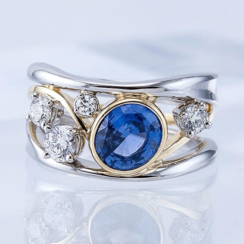 Huitan-Anillo de boda azul ovalado para mujer, sortija, zirconia, circonita, zirconita, zirconita, circón