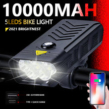 20000LM 5Leds MTB Bicycle lights 10000MAH Usb Rechargeable Bike Light Flashlight Outdoor Cycling Bike Accessaries As Power Bank