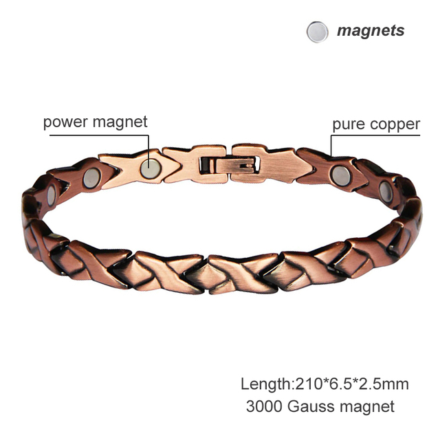 Elegant Pure Copper Magnetic Therapy Link Bracelet