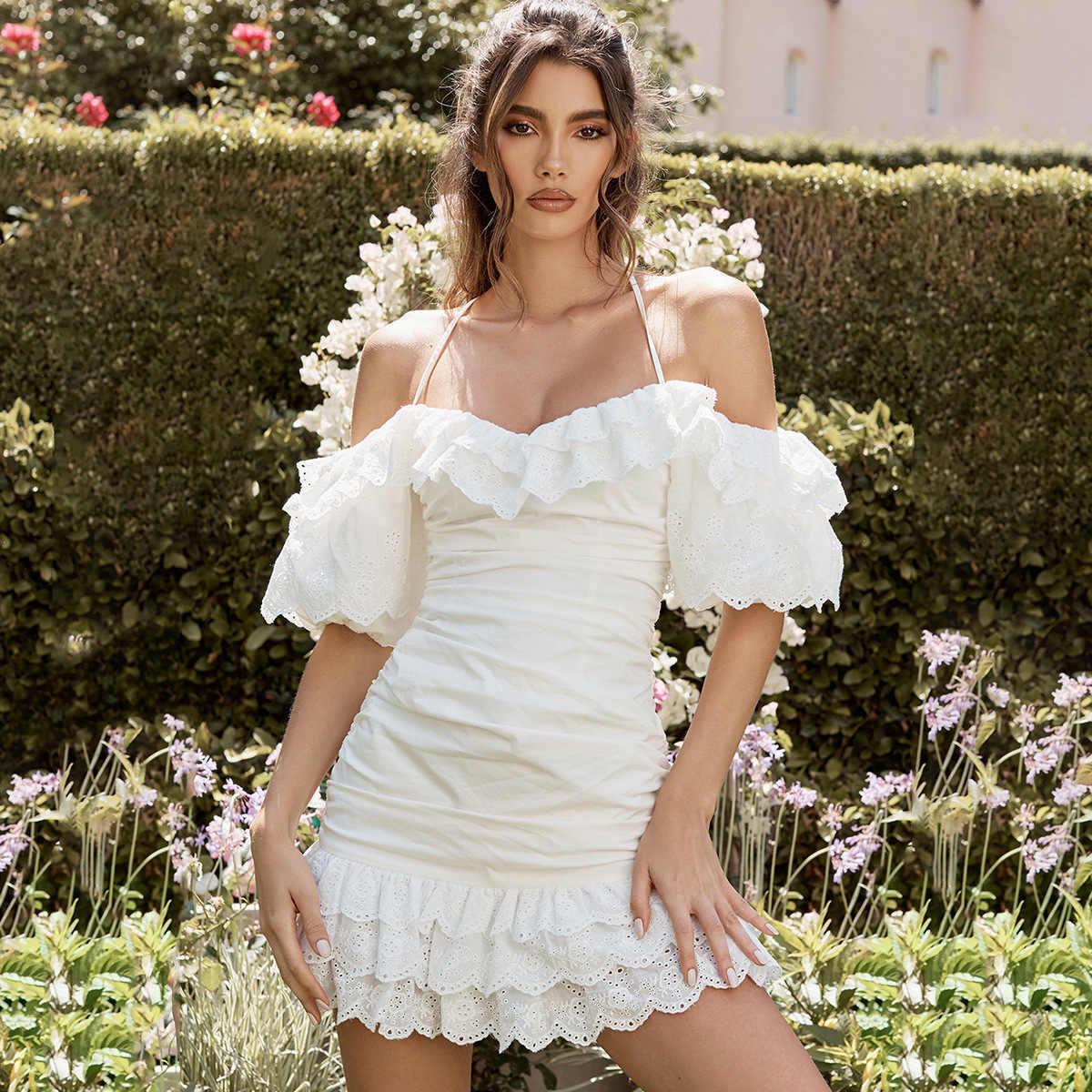 ชุดกระโปรงฤดูร้อนผู้หญิงเซ็กซี่ชุด 2019 กลับข้ามผ้าพันแผล Backless Ruffle Mini ชุดชายหาด Vestidos