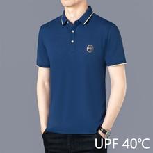 UPF 40 Mercerized Cotton Pique Polo Shirts Men Short Sleeve Breathable Poloshirt Navy Blue Brand Quality 5XL 6XL Golf Shirt 2021