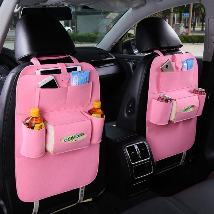 Car Seat Back Bag Stowing Tidying Seat Organizer Multi-function Hanging Bag Thick High Quality Pink Car Storage Box