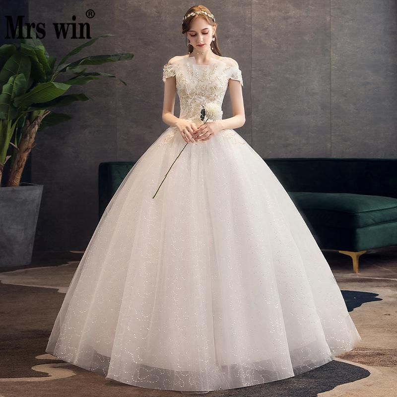 Wedding Dress 2020 New Boat Neck Floor-length Lace Up Ball Gown Off The Shoulder Bling Bling Luxury Wedding Gowns