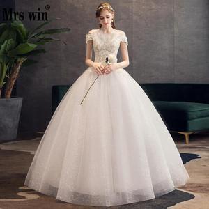 Свадебное платье, новинка 2020, вырез-лодочка, длина до пола, на шнуровке, бальное платье с открытыми плечами, шикарные свадебные платья