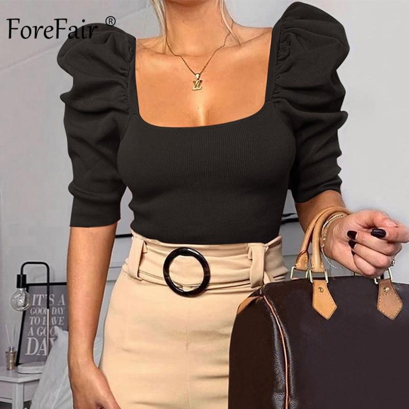 Forefair Vintage Puff Sleeve Women Blouse Square Neck Korean Style Tops Elegant Sexy White Black Slim Crop Blouse Women