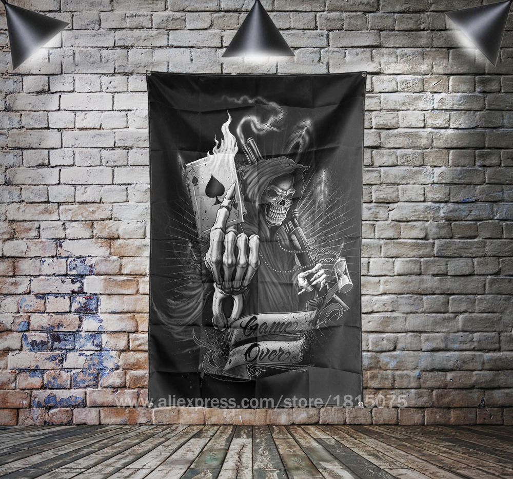 Skull Reaper Spade A Art Flag Banner Home Decoration Hanging flag 4 Gromments in Corners 3*5FT 144cm*96cm