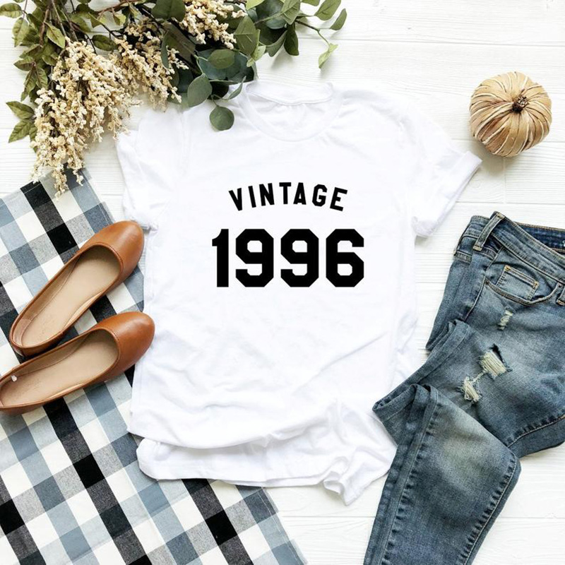 23rd Birthday Tshirt 1996 Birthday T Shirt Lady Gifts Women Fashion Casual Summer Holiday Funny T-shirts Women Graphic Tshirt
