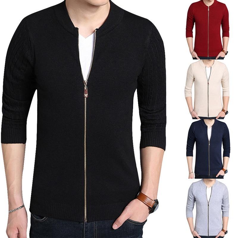 Fashion Men Fashion Sweater Zipper Open Front Cardigan Pop Sweater Jacket Style Male Knitwear Slim Fashion Trend  Sweater