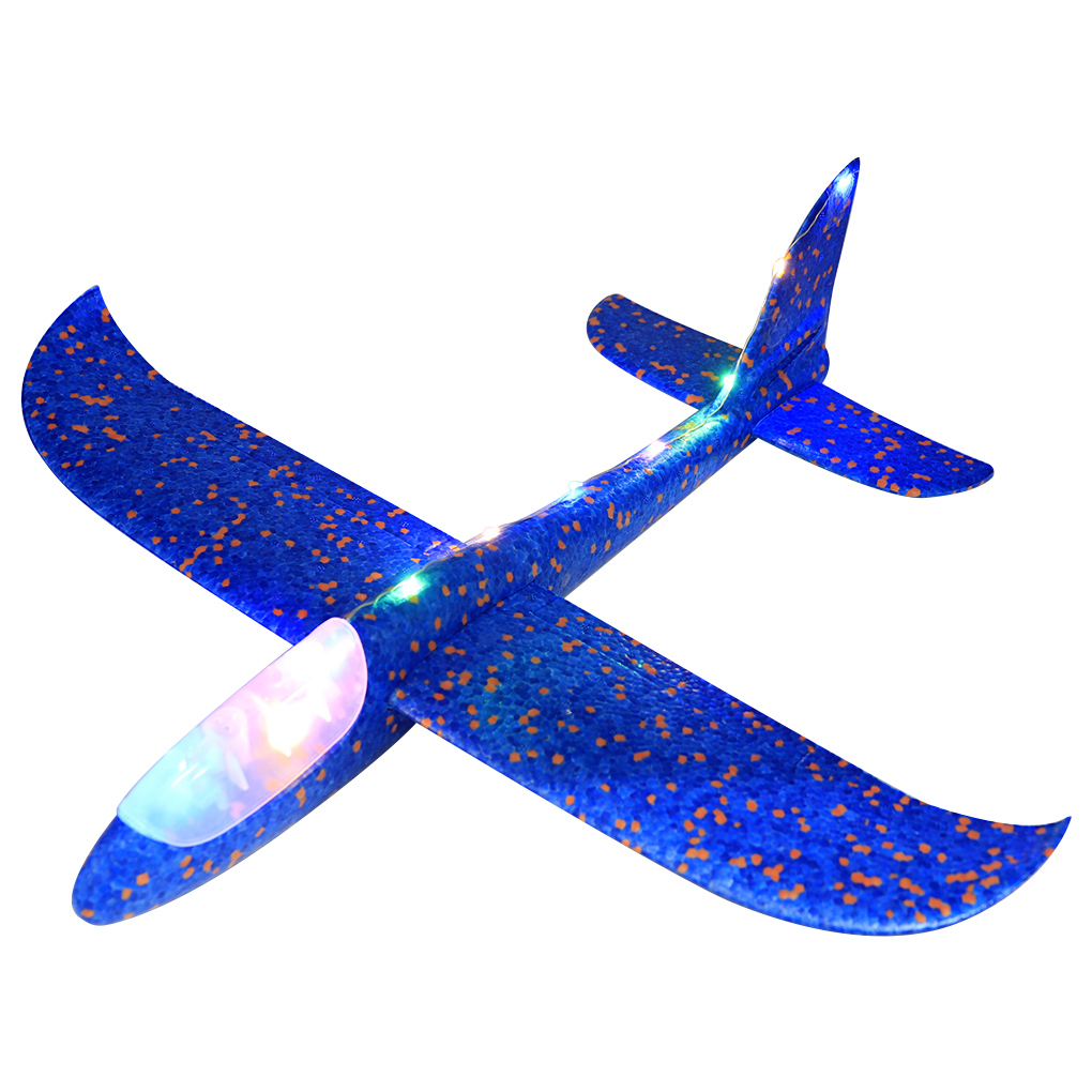 Hot! 1PC 48CM Night Light Hand Throw Airplane Foam Fly Glider Planes Model Aircraft Outdoor Fun Toys for Children Party Game