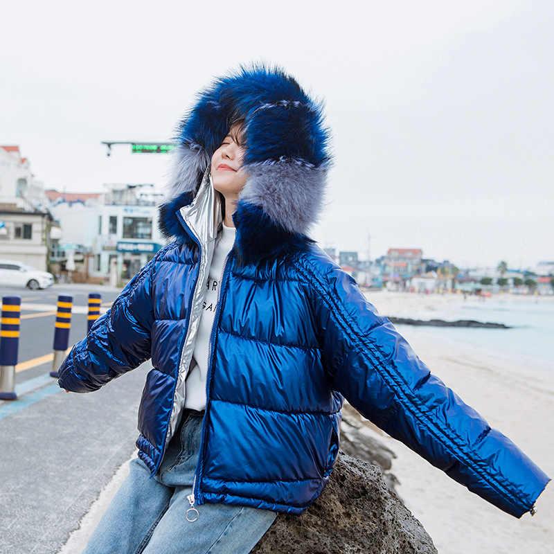 FICUSRONG Fashion Women Glossy Silver Down Jackets Colorful Fur Collar Hooded Coat Shining Babric Stylish Womens Winter Jackets