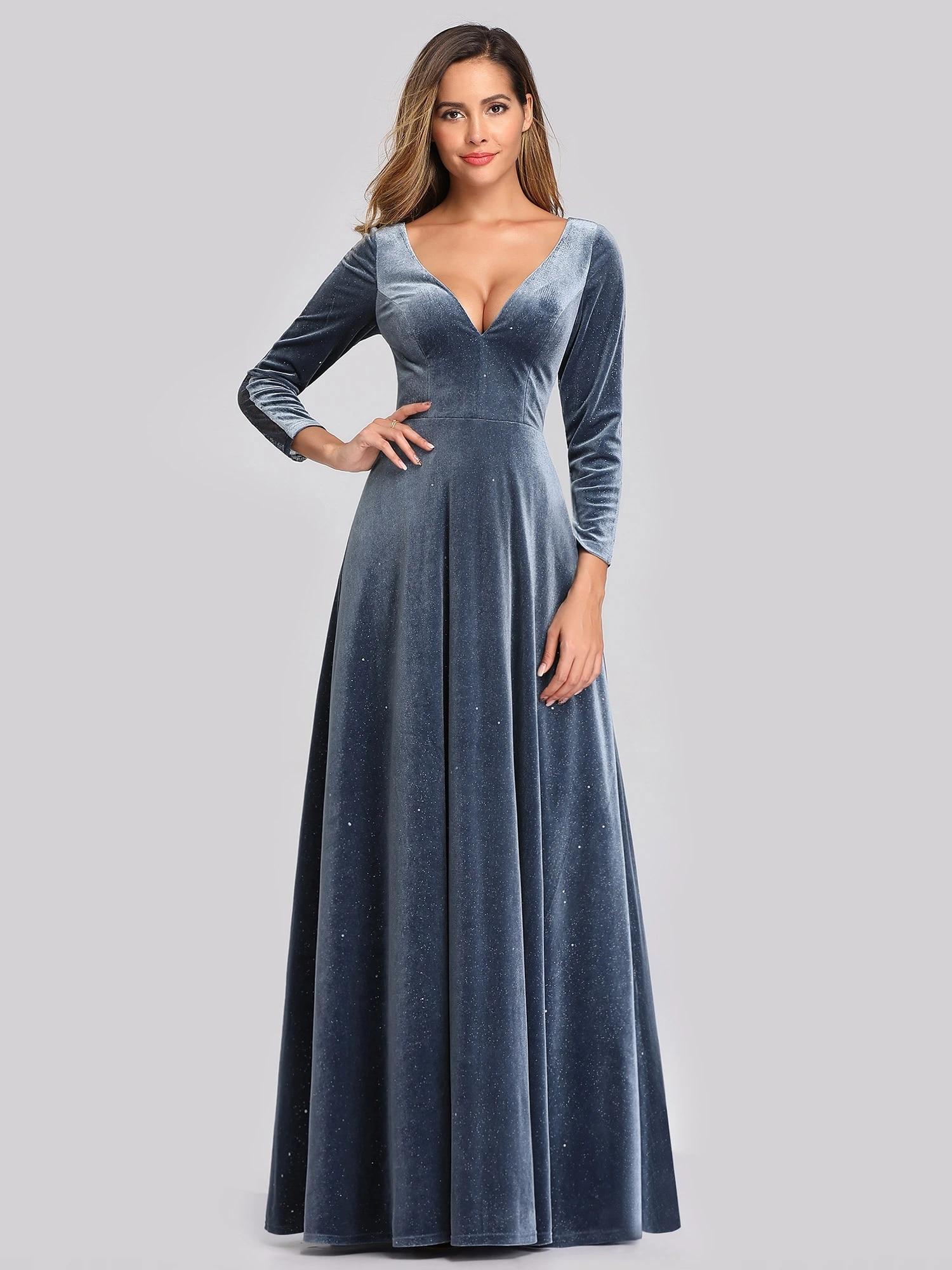 Robe de soirée Elegant Double V Neck Velvet Party Dresses for Women Evening Dresses Long Sleeve Vestido de noche A-LINE Gown