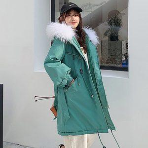 Image 3 - معطف نسائي شتوي من Vielleicht  30 درجة ، معطف طويل دافئ من الفرو الصناعي موضة 2019 ، ياقة طويلة بقلنسوة