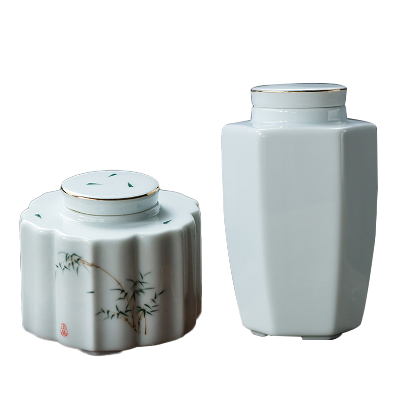 Japanese Tea Box Ceramic Porcelain Tea Caddy Tieguanyin Storage Boxes Seal Caddies Container Jar Kung Fu Tea Set Accessories